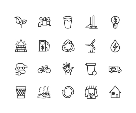 Simple Set of Eco energy Related Vector Line Icons. Contains such Icons as Electric car, nuclear plant, rubbish dump, wind power, solar panels, green energy. Editable Stroke. Vectores