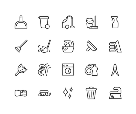Simple Set of Cleaning service Related Vector Line Icons isolated on plain background