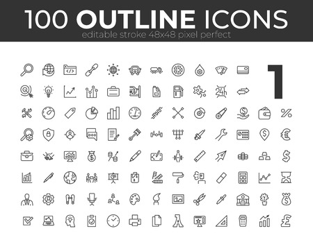 100 Universal Outline Icons For Web and Mobile. Editable Stroke. 48x48 Pixel Perfect