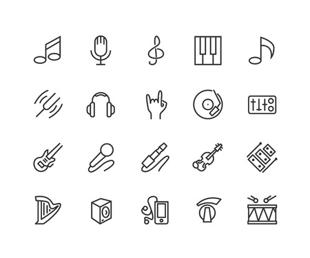 Simple Set of Music Related Vector Line Icons. Contains such Icons as Guitar, In-ear Headphones, note, harp and more. Editable Stroke. 48x48 Pixel Perfect.