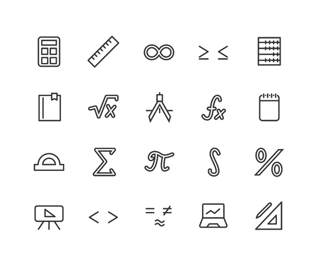 Simple set of math related vector line icons. Contains such icons as ruler, function, percentage, number of pi and more. Editable Stroke. 48x48 Pixel Perfect.