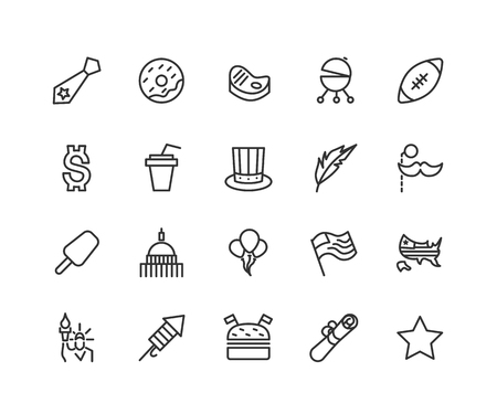Simple set of USA Independence Day related vector line icons. Contains such icons as hat, flag, balloons, salute and more. Editable Stroke. 48x48 Pixel Perfect.