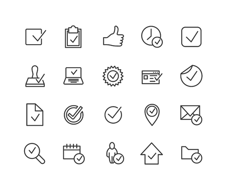 Simple Set of Approve Related Vector Line Icons. Contains such Icons as Thumbs up, Stamp, Check List and more. Editable Stroke. 48x48 Pixel Perfect.  イラスト・ベクター素材