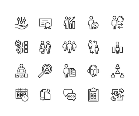 Simple Set of Business managment Related Vector Line Icons. Contains such Icons as One-on-One Meeting, Support, Business Communication, Team Structure and more. Editable Stroke. 48x48 Pixel Perfect
