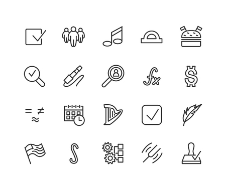 Simple Set of Web Related Vector Line Icons. Contains such Icons as Approve, flag, function, Note, Harp and more. Editable Stroke. 48x48 Pixel Perfect  イラスト・ベクター素材