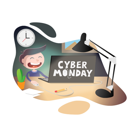 Cyber monday sale vector illustration. Young happy smiling businessman sitting at the desk and working at the computer, looking at screen. Online sale background design  イラスト・ベクター素材