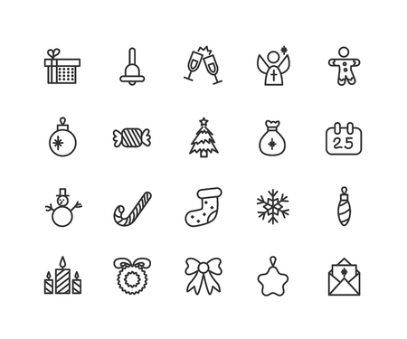 Thin line icons set of christmas, party and celebrations. Outline symbol collection. Editable vector stroke. 48x48 Pixel Perfect