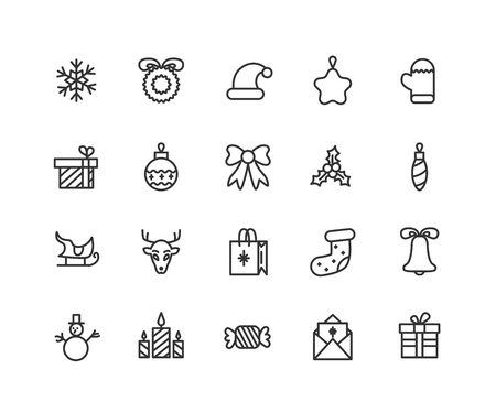 Thin line icons set of New Year, party and celebrations. Outline symbol collection. Editable vector stroke. 48x48 Pixel Perfect  イラスト・ベクター素材