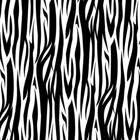 Zebra Stripes Seamless Pattern vector illustration. Black and white