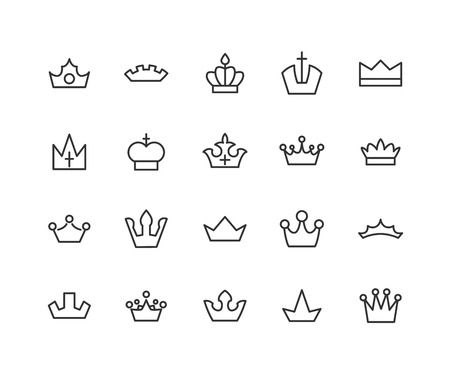 Big collection of thirty vector crown simple black and white icons. Editable vector stroke. 48x48 Pixel Perfect. 일러스트