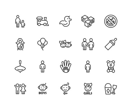Simple Set of Children Care Related Vector Line Icons. Contains such Icons as Balloon, Train, Bear, Duck and more. Editable Stroke. 48x48 Pixel Perfect  イラスト・ベクター素材