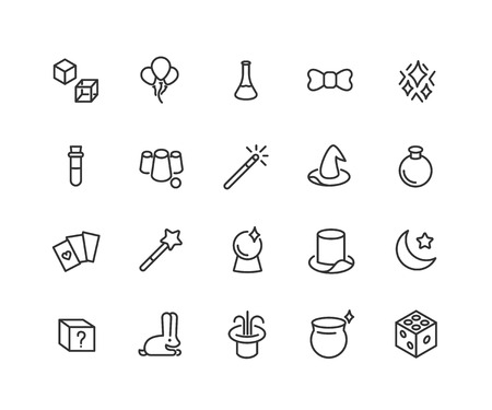 Simple Set of Magic Related Vector Line Icons. Contains such Icons as Magic Hat, Wand, Cube, Effect and more. Editable Stroke. 48x48 Pixel Perfect