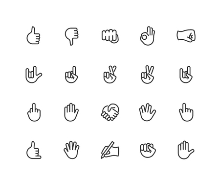 Hand gesture linear icons set. Point out, cool, approve, hello, heavy metal, thumbs up, fist, direction point symbols. Thin line Editable Stroke. 48x48 Pixel Perfect.  イラスト・ベクター素材