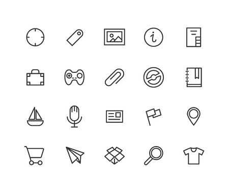 Universal Outline Icons For Web and Mobile. Contains such Icons as Pin, Clip, Yacht, Gamepad, Search and more. Editable vector stroke. 48x48 Pixel Perfect
