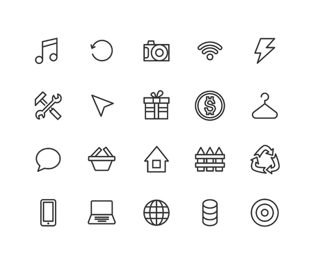 Universal Outline Icons For Web and Mobile. Contains such Icons as Recycle, Note, Laptop, Hanger and more. Editable vector stroke. 48x48 Pixel Perfect.  イラスト・ベクター素材