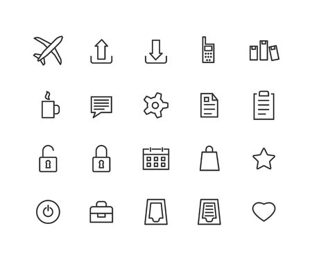Universal Outline Icons For Web and Mobile. Contains such Icons as Airplane, Tea Cup, Calendar, Options and more. Editable vector stroke. 48x48 Pixel Perfect.  イラスト・ベクター素材