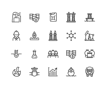 Simple Set of Oil industry Vector Line Icons. Contains such Icons as Gas production, transportation, storage and more. Editable vector stroke. 48x48 Pixel Perfect