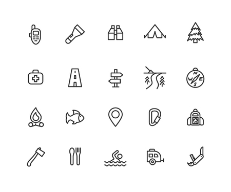 Simple Set of Camping Vector Line Icons. Contains such Icons as Walkie Talkie, Campfire, Pinpoint and more. Editable vector stroke. 48x48 Pixel Perfect