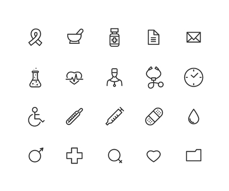 Simple Set of Medical Vector Line Icons. Contains such Icons as stethoscope, thermometer, flask, doctor and more. Editable vector stroke. 48x48 Pixel Perfect  イラスト・ベクター素材
