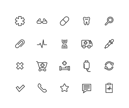 Simple Set of Medical Vector Line Icons. Contains such Icons as tooth, glasses, hospital bed, dropper and more. Editable vector stroke. 48x48 Pixel Perfect.  イラスト・ベクター素材