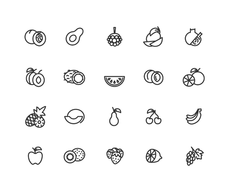 Simple Set of Fruits Vector Line Icons. Contains such Icons as apple, cherry, orange and more. Editable vector stroke. 48x48 Pixel Perfect.