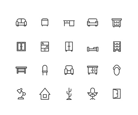 Simple Set of House furniture Vector Line Icons. Contains such Icons as bookcase, sofa, table and more. Editable vector stroke. 48x48 Pixel Perfect.  イラスト・ベクター素材