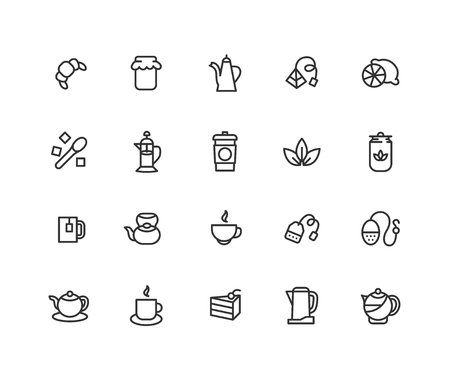 Simple Set of Black and green tea Vector Line Icons. Contains such Icons as sugar, lemon, teacup and more. Editable vector stroke. 48x48 Pixel Perfect  イラスト・ベクター素材