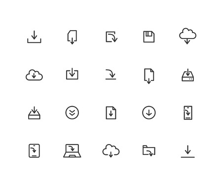 Simple Set of Download Vector Line Icons. Contains such Icons as Cloud, App, File and more. Editable vector stroke. 48x48 Pixel Perfect.  イラスト・ベクター素材