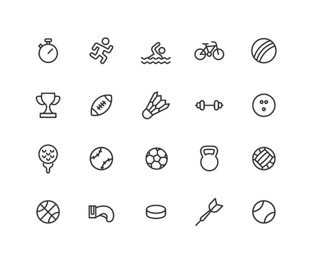 Simple Set of Sport games Vector Line Icons. Contains such Icons as ball, bicycle, football, hockey and more. Editable vector stroke. 48x48 Pixel Perfect