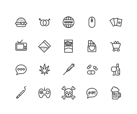 Simple Set of Bad habits Vector Line Icons. Contains such Icons as cigarette, cocaine, cannabis, shopping and more. Editable vector stroke. 48x48 Pixel Perfect.