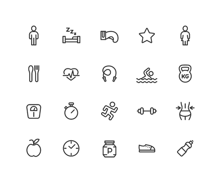 Simple Set of Fitness Vector Line Icons. Contains such Icons as boxing, running, gym, pool and more. Editable vector stroke. 48x48 Pixel Perfect  イラスト・ベクター素材