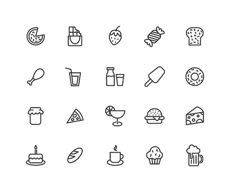 Simple Set of Food Vector Line Icons. Contains such Icons as Pizza, icecream, honey, burger and more. Editable vector stroke. 48x48 Pixel Perfect