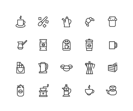 Simple Set of Coffee Vector Line Icons. Contains such Icons as coffee bag, croissant, teapot, cake, chocolate and more. Editable vector stroke. 48x48 Pixel Perfect