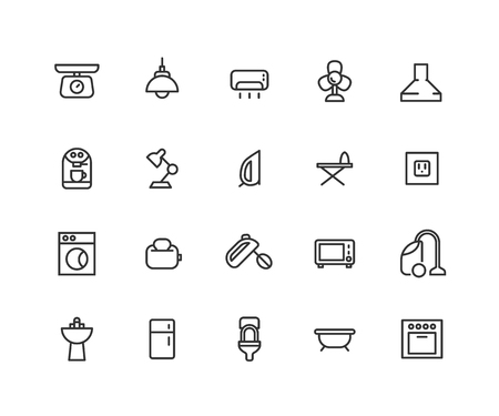Simple Set of kitchen and bathroom Related Vector Line Icons. Contains such Icons as extractor fan, mixer, toaster, oven and more. Editable Stroke. 48x48 Pixel Perfect  イラスト・ベクター素材