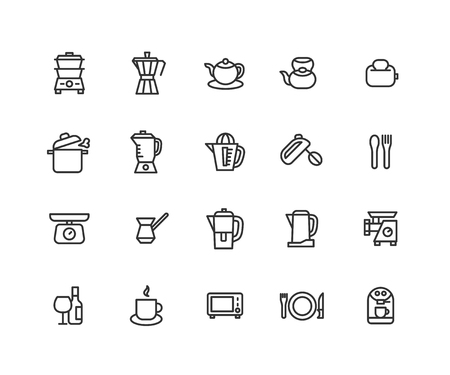 Simple Set of Kitchenware Related Vector Line Icons. Contains such Icons as kitchen equipment, kettle, fork and more. Editable Stroke. 48x48 Pixel Perfect.  イラスト・ベクター素材