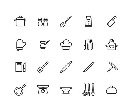 Simple Set of Cooking instruments Related Vector Line Icons. Contains such Icons as Kitchen tools, cooking utensils pan and more. Editable Stroke. 48x48 Pixel Perfect.