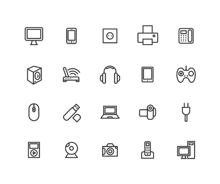 Simple Set of Consumer electronics Vector Line Icons. Contains such Icons as Camera, LCD Monitor, USB and more. Editable vector stroke. 48x48 Pixel Perfect.  イラスト・ベクター素材