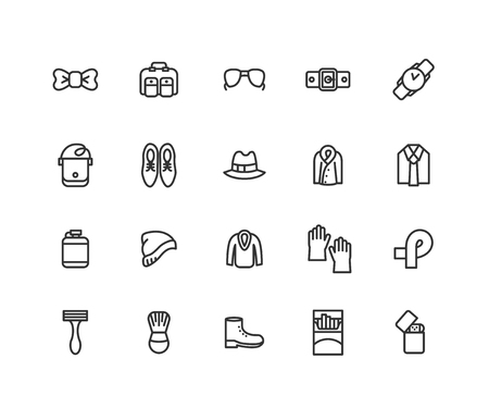 Simple Set of Men accessories Vector Line Icons. Contains such Icons as Glasses, Hat, Boots and more. Editable vector stroke. 48x48 Pixel Perfect.  イラスト・ベクター素材