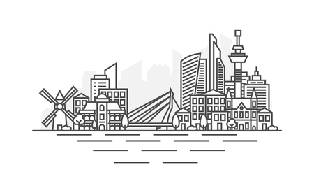 Rotterdam, Netherlands architecture line skyline illustration. Linear vector cityscape with famous landmarks, city sights, design icons. Landscape with editable strokes.