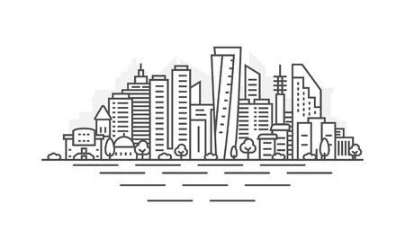 Cityscape Building Line art Vector Illustration design - Tel Aviv city. Landscape with editable strokes