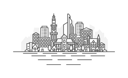 Antwerp, Belgium architecture line skyline illustration. Linear vector cityscape with famous landmarks, city sights, design icons. Landscape with editable strokes.  イラスト・ベクター素材