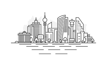 Berlin, Germany architecture line skyline illustration. Linear vector cityscape with famous landmarks, city sights, design icons. Landscape with editable strokes  イラスト・ベクター素材