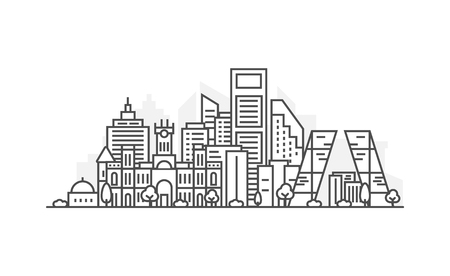 Madrid, Spain architecture line skyline illustration. Linear vector cityscape with famous landmarks, city sights, design icons. Landscape with editable strokes.  イラスト・ベクター素材