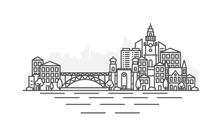 Portugal, Porto architecture line skyline illustration. Linear vector cityscape with famous landmarks, city sights, design icons. Landscape with editable strokes. 矢量图像