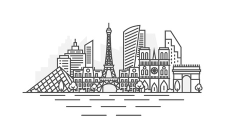 Paris, France architecture line skyline illustration. Linear vector cityscape with famous landmarks, city sights, design icons. Landscape with editable strokes  イラスト・ベクター素材