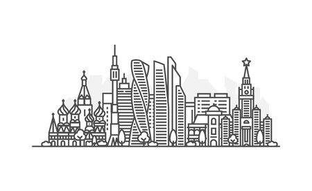 Moscow, Russia architecture line skyline illustration. Linear vector cityscape with famous landmarks, city sights, design icons. Landscape with editable strokes  イラスト・ベクター素材