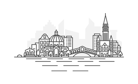 Venice, Italy architecture line skyline illustration. Linear vector cityscape with famous landmarks, city sights, design icons. Landscape with editable strokes.