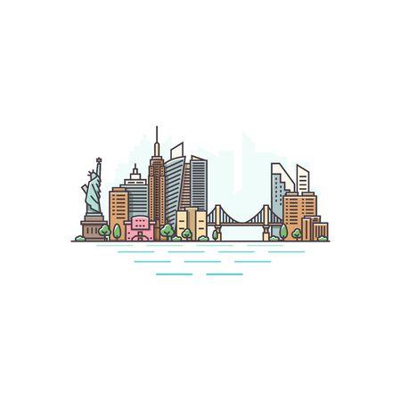 New York city, USA architecture color line skyline illustration. Linear vector cityscape with famous landmarks, city sights, design icons. Landscape on white background Vektorgrafik