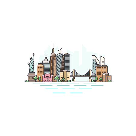 New York city, USA architecture color line skyline illustration. Linear vector cityscape with famous landmarks, city sights, design icons. Landscape on white background Ilustración de vector