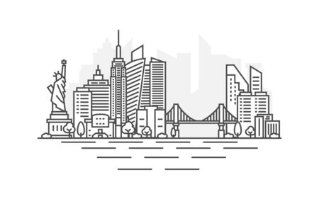 New York city, USA architecture line skyline illustration. Linear vector cityscape with famous landmarks, city sights, design icons. Landscape with editable strokes